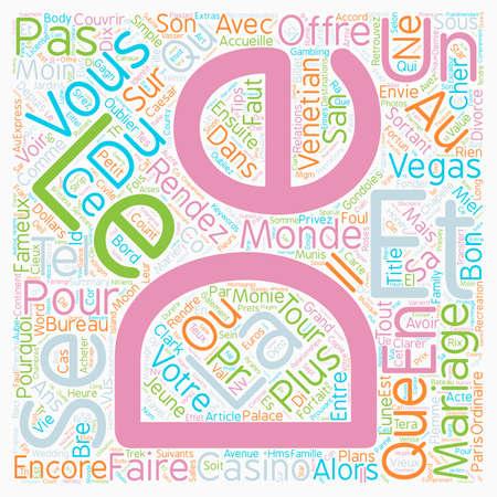 Bons Plans pour Mariage Express tekst achtergrond wordcloud begrip Stock Illustratie