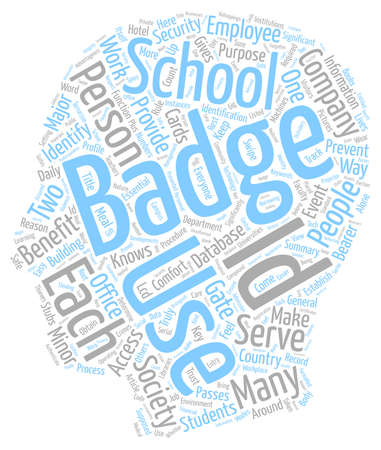 Benefits Of I D Badges text background wordcloud concept Illustration