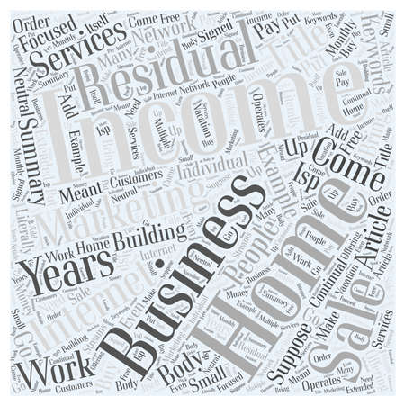 Building Your Home Business with Residual Income Word Cloud Concept