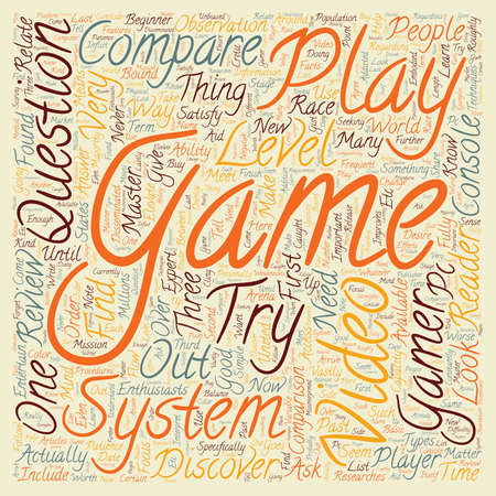 researches: Compare video game system text background wordcloud concept.
