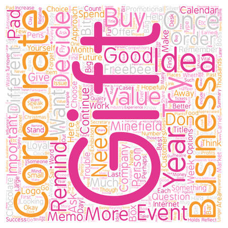Corporate Gift Ideas The Minefield text background wordcloud concept
