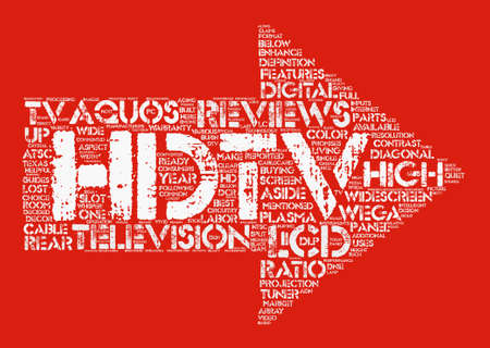 Hdtv reviews text background word cloud concept. Ilustrace