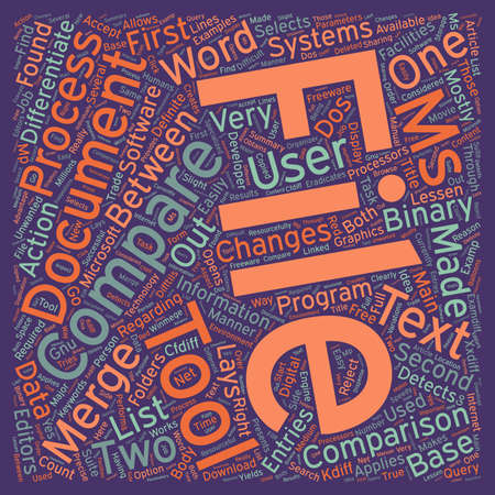 detects: Compare Two Text Files text background wordcloud concept.