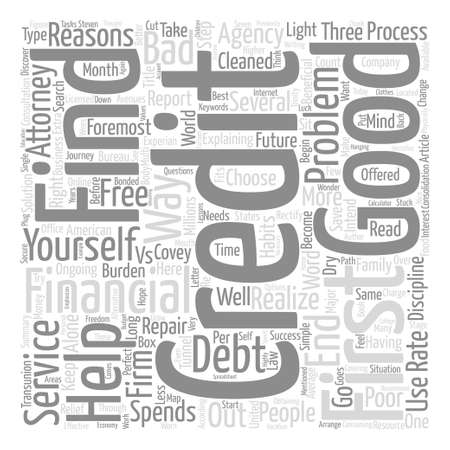 Good Credit vs Bad Credit text background word cloud concept.