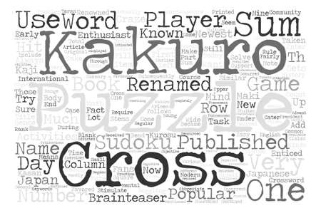 newest: Enter The Kakuro Puzzles Word Cloud Concept Text Background Illustration