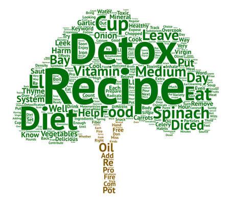 detox diet recipe text background word cloud concept Illustration