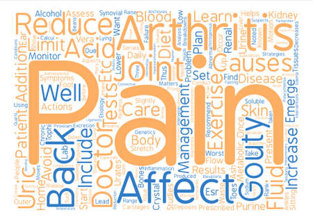 Gouty and Back Pain Word Cloud Concept Text Background Vector Illustration