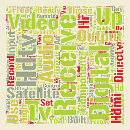 hdtv satellite receivers text background word cloud concept Illustration
