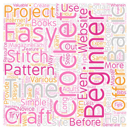 easy crochet patterns 1 text background wordcloud concept