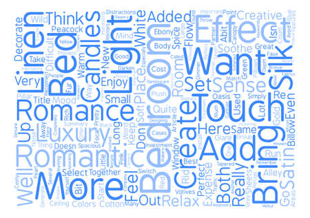 decorate your bedroom for romance text background word cloud