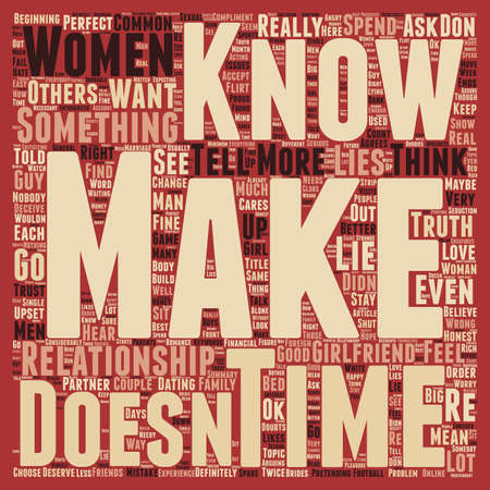 truthful: Common Lies Told by Women text background wordcloud concept Illustration