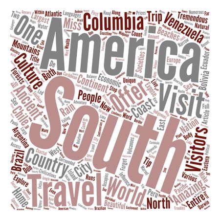 tremendous: Travel South America text background word cloud concept