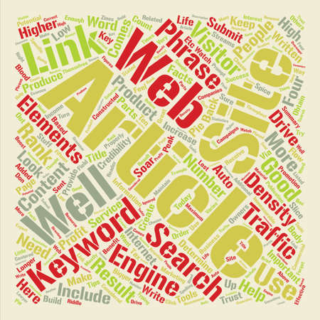 Elements Articles Must Have To Drive Traffic to Your Web Site Word Cloud Concept Text Background Ilustrace