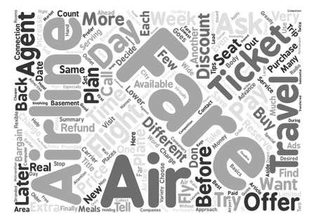 飛行機チケット単語クラウド コンセプト テキストの背景