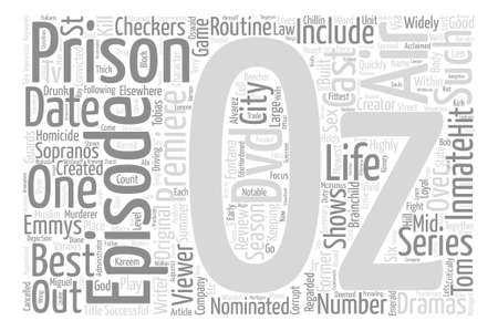 Oz episode Review text background word cloud concept