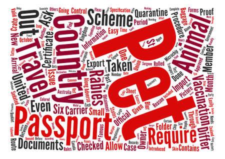 quarantine: Pet Passport and PETS Word Cloud Concept Text Background Illustration