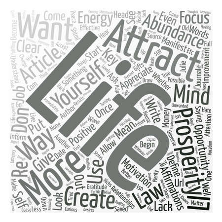 julie: key ways to attract abundance and prosperity text background word cloud concept