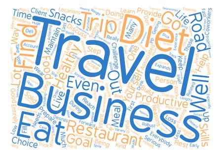 Your Business Trip and Your Diet Word Cloud Concept Text Background Ilustração