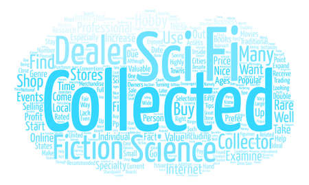 Sci Fi Collectable Word Cloud Concept Text Background Illustration
