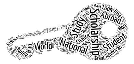 Becas y Nationaility texto concepto del fondo de la nube de palabra