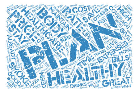 vices: Healthcare Plan text background word cloud concept Illustration
