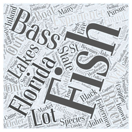 yielded: bass fishing Word Cloud Concept Illustration