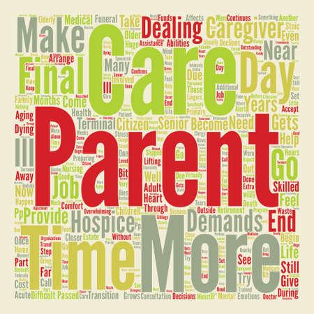 zorg voor ouders Word Cloud Concept Tekst Achtergrond Stock Illustratie