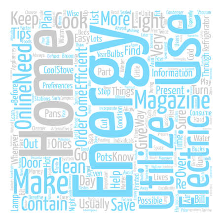 home energy magazine Word Cloud Concept Text Background Illustration