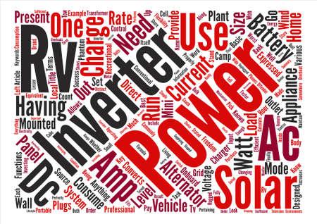 alternating current: RV Solar Inverters text background word cloud concept Illustration