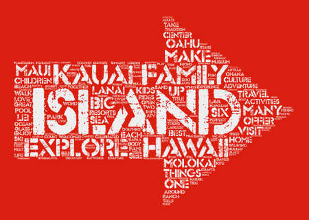 make summary: Things For Families To Do In Hawaii text background word cloud concept Illustration