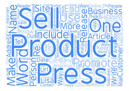 article writing: Promote Your Products With A Press Release text background word cloud concept Illustration