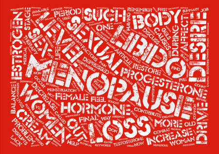 estrogen: Menopause and Loss of Libido Word Cloud Concept Text Background
