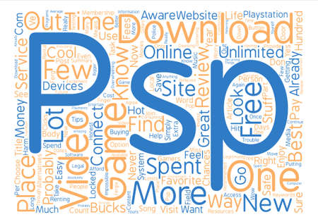 psp: Video Game Downloads text background word cloud concept Illustration