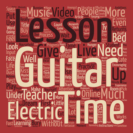 Electric Guitar Lessons The Hunger Returns Word Cloud Concept Text Background Ilustração