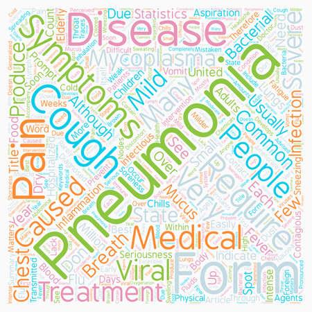 Common Pneumonia Symptoms text background wordcloud concept