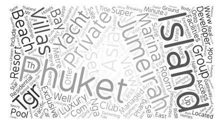 Jumeirah private island phuket Word Cloud Concept Text Background