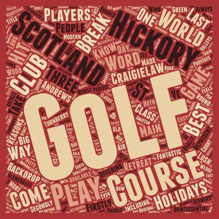 Concepto clásico del wordcloud del fondo del texto del golf en Escocia