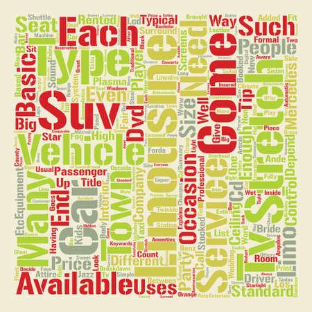explains: Limousine Services text background word cloud concept Illustration