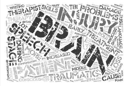 De rol van spraakterapie in traumatische hersenschade tekst achtergrond woord wolk concept Stock Illustratie