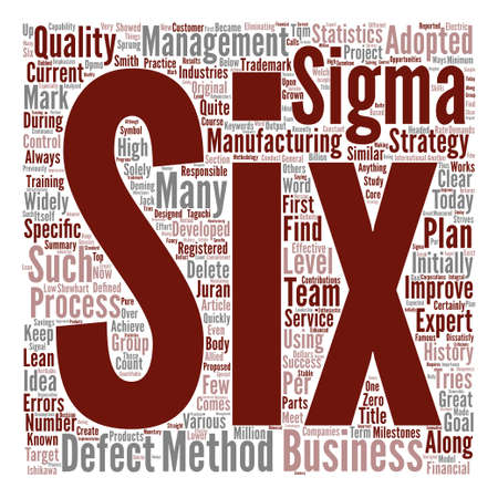 History of Six Sigma text background word cloud concept
