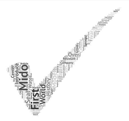 History of Mido watches Word Cloud Concept Text Background Ilustração