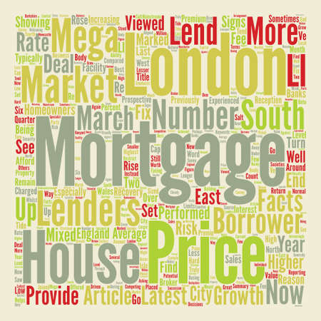 Mortgages The Return Of The Mega Mortgage text background word cloud concept Illustration