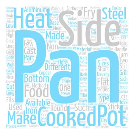調理器具鍋および鍋単語クラウド コンセプト テキストの背景の種類