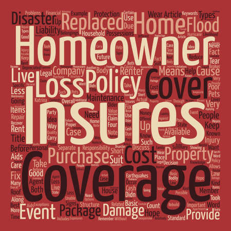 homeowners: Homeowners Insurance text background word cloud concept