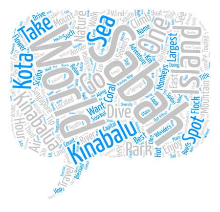 Enjoy Sabah s Eco Treasures text background word cloud concept Illustration