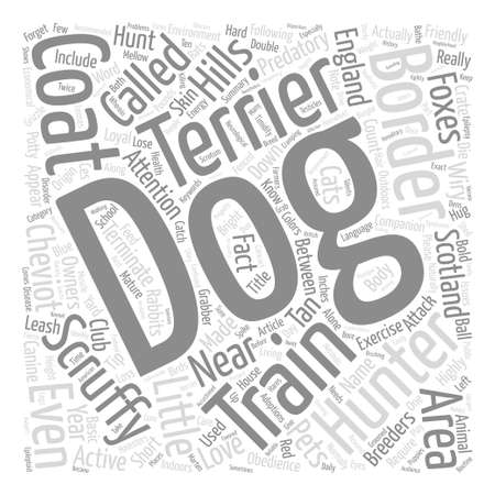 The Scruffy Little Hunter Dog Border Terrier Word Cloud Concept Text Background