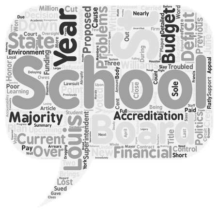 deficit: Financial and Political Problems Plague the Troubled St Louis Schools text background wordcloud concept