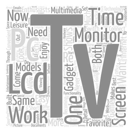 pc monitor: LCD TV PC Monitor text background word cloud concept Illustration