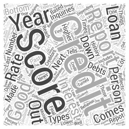 Credit Report and Score Word Cloud Concept