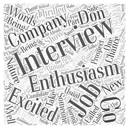 interviewed: Enthusiasm in a Job Interview Word Cloud Concept